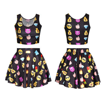 Sexy Emoji Pleated Skirts Soft Emoji Print Summer Women Sets