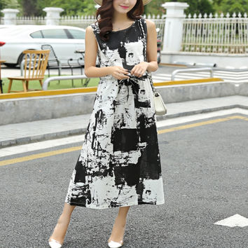 Women Retro Ink Printing Loose Dress Long Section Vintage Dress Summer Style Round Neck Sleeveless Cotton Dress Plus Size
