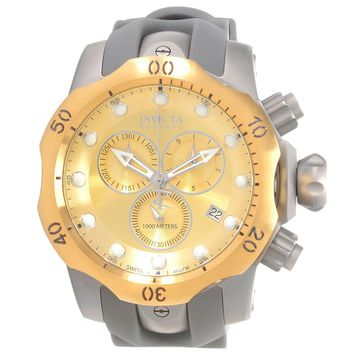 Invicta 16986 Men's Venom Reserve Chronograph Gold Tone Dial Grey Rubber Strap Dive Watch