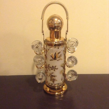 Vintage Glass Caddy Liquor Shot Glass Barware Gold Etching Frosted