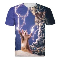 Lightning Cat Short Sleeve 3D Shirt