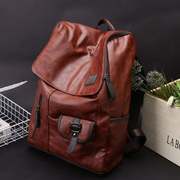 Fashion Men's Leather Backpack Laptop Bag Vintage Bags Shoulder Briefcase Rucksack