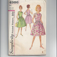 Simplicity 4986 Pattern for Misses' One Piece Wrap Around Dress, Size 14, From Early 1960s