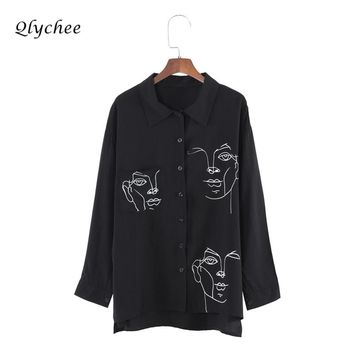 Qlychee Apparel Chiffon Blouse Shirt Women Clothing Face Print Shirt Turn-down Collar Long Sleeve Tops Elegant Long Shirt Blusas