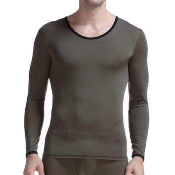 Man Undershirt Thermal Super Thin Men Ice Silk Spandex Sheer T Shirts Male Long Sleeves Tops Tees Breathable Long Johns