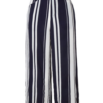 LE3NO Womens Chiffon Wide Leg Culottes Palazzo Pants with Elastic Waist (CLEARANCE)