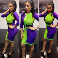 Purple and Green Color Block Bodycon Dress