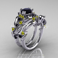 Nature Classic 14K White Gold 1.0 Ct Black Diamond Yellow Sapphire Leaf and Vine Engagement Ring Wedding Band Set R340S-14KWGYSBD