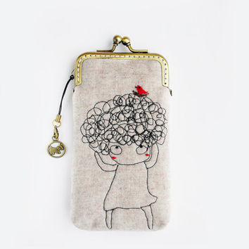 iPhone Case iPhone sleeve gadget case-free hand sewing Embroidery Girl ( iPhone 5, Samsung Galaxy S4 Size available)