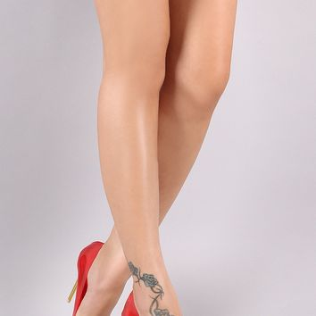Clear Pointy Toe Metallic Stiletto Pump