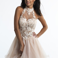 Dave & Johnny 10558 Nude Sweetheart Lace Prom Dresses Online