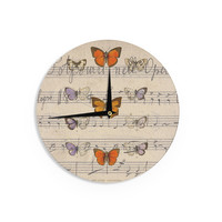 "Suzanne Carter ""Butterfly Opera"" Music Tan Wall Clock"