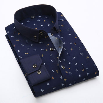 Men Casual Shirts Fashion Long Sleeve Brand Printed Button-Up