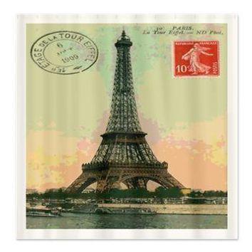 Eiffel Tower Paris Shower Curtain> Coastal, Vintage and Urban Chic Shower Curtains> Rebecca Korpita Coastal Design