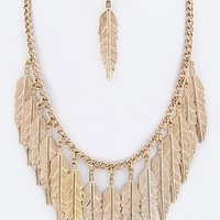 METAL FEATHERS STATEMENT NECKLACE SET