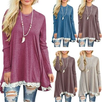 Womens Long Sleeve Blouse Lace Hem Tunic Loose Tops Jumper