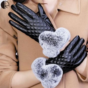 Women Winter Gloves Touch Screen PU Leather Gloves Rex Rabbit Warm Thicken Gloves Shape Of A Diamond