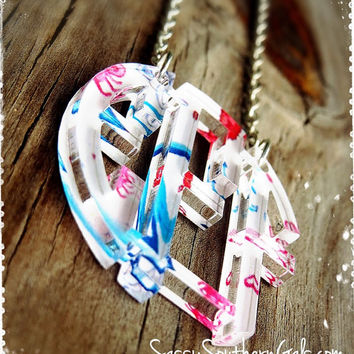 Monogram Acrylic Floating Necklace, Francesca Joy Patterns, Lilly Pulitzer Inspired
