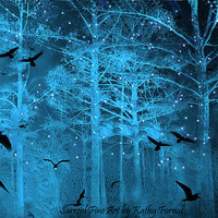 "Nature Photography, Surreal Fantasy Blue Starry Nature, Birds Ravens Gothic Nature, Blue Trees Stars Fine Art Fantasy Photography 8"" x 12"""