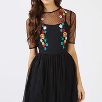 **Floral Embroidered Mesh Skater Dress by Glamorous - New In Dresses - New In