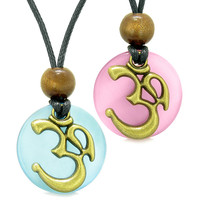 Ancient OM Tibetan Amulets Love Couples Yin Yang Powers Pink and Sky Blue Simulated Cats Eye Necklaces