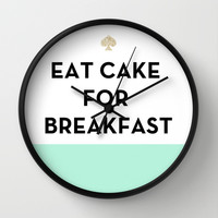 Eat Cake for Breakfast - Kate Spade Inspired Wall Clock by Rachel Additon