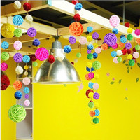 Wicker ball garland for home decoration