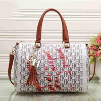 CH Carolina Herrera Women Print Leather Shoulder Bag Satchel Tote Handbag Crossbody G-MYJSY-BB
