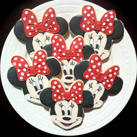 Decorated Minnie Mouse Character Cookies, Perfect for your child's Birthday Party Favors