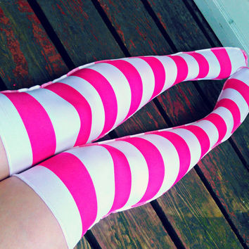 Barbie girl LONGSTOCKINGS over knee socks stockings hot pink stripe thigh high