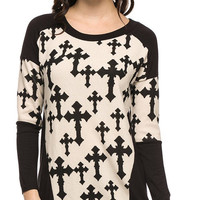 Cross print full dolman sleeves top
