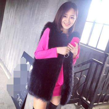 2018 Xulanbaby Winter Women's Coat Faux Fox Fur Vest Black Sexy Slim Vest Oversize Preppy Fur Coat Furry Midi Overcoat AW157