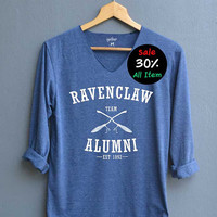 Ravenclaw Alumni Shirt Harry Potter Shirts V-Neck Navy Blue Unisex Adult Size S M L