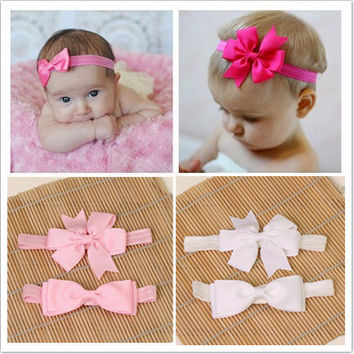 2pcs set hair accessories elastic bands ribbon bows kids infant baby headband girls bow headbands satin flower hairband headwear