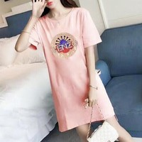 """Kenzo"" Women Loose Casual Fashion Hot Fix Rhinestone Sun Flower Letter Short Sleeve T-shirt Mini Dress"