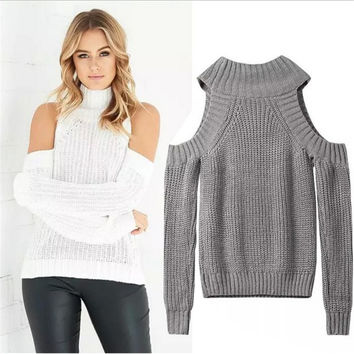 Turtleneck Off Shoulder Sweater Women Sexy Pullover Tricot Oversize Jumper Pull Femme Autumn Fashion Knitted Top