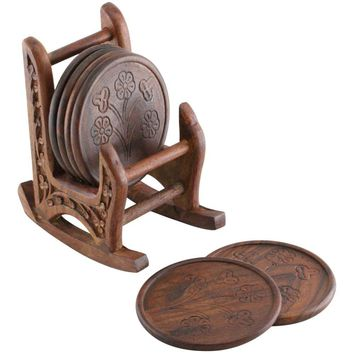 Handmade Wooden Set Of 6 Coasters With Rocking Chair Holder