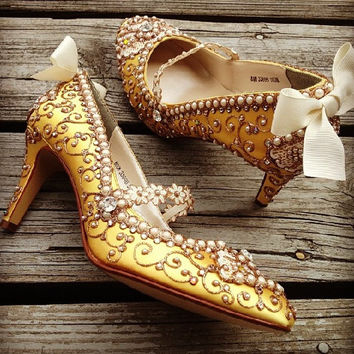 Marie Antoinette Bridal Heels Wedding Shoes - Any Size - Pick your own shoe color and crystal color
