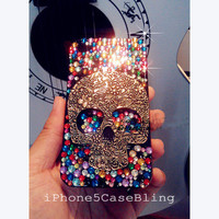 iphone 4 case, iphone 5 case, ipod touch 5 case, ipod touch 4 case, skull ipod touch 5 case, skull iphone 5 bling case, bling iphone 4 case