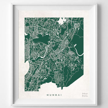 Mumbai, Map, Indian, Poster, Print, Beautiful, India, Dorm Room, Bed, World, House, Street, Nursery, Decor, Town, Illustration [NO 617]