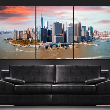 Large Wall Art Canvas Print + Skyline  Panorama New York Manhattan Murals + Aerial view of New York Canvas Art Printing