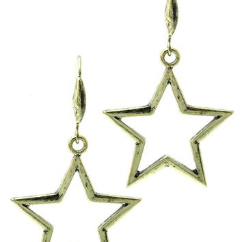 Gold Aged Finish Metal Star Earring