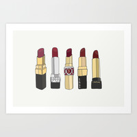 2015 Trend Marsala Lipstick Collection Art Print by Marry Marry Design