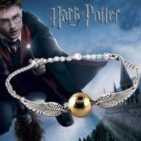 Harry Potter wing Bracelet, Golden Snitch Bracelets, Silver Tone Bracelet, The Golden Snitch Bracelets; harry potter jewelry