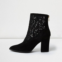 Black lace western ankle boots