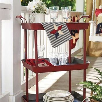 Retro Red 3 Tier Metal Kitchen Utility Cart with Wheels  by Park Designs