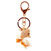 Charm Crystal Keychain goldfish Key Holder Rhinestone Keyring Keyfob Fish Pendant Key Chain Rings Women Jewelry DM#6