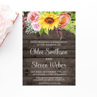 Rustic Barn Wood Sunflower Wedding Invitation, Floral Wedding Invitation, Printable Wedding Invitation, Wedding Invite, Instant Download,