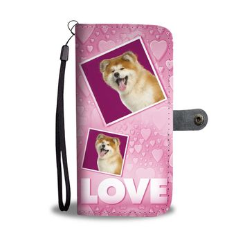 Akita Dog with Love Print Wallet Case-Free Shipping