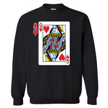 Zexpa Apparel™ Hearts Queen Game Card Unisex Crewneck Couple Matching Valentines Day Sweatshirt